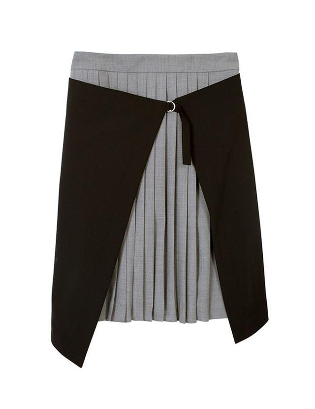 Tibi Tropical Wool Pleated Wrap Skirt