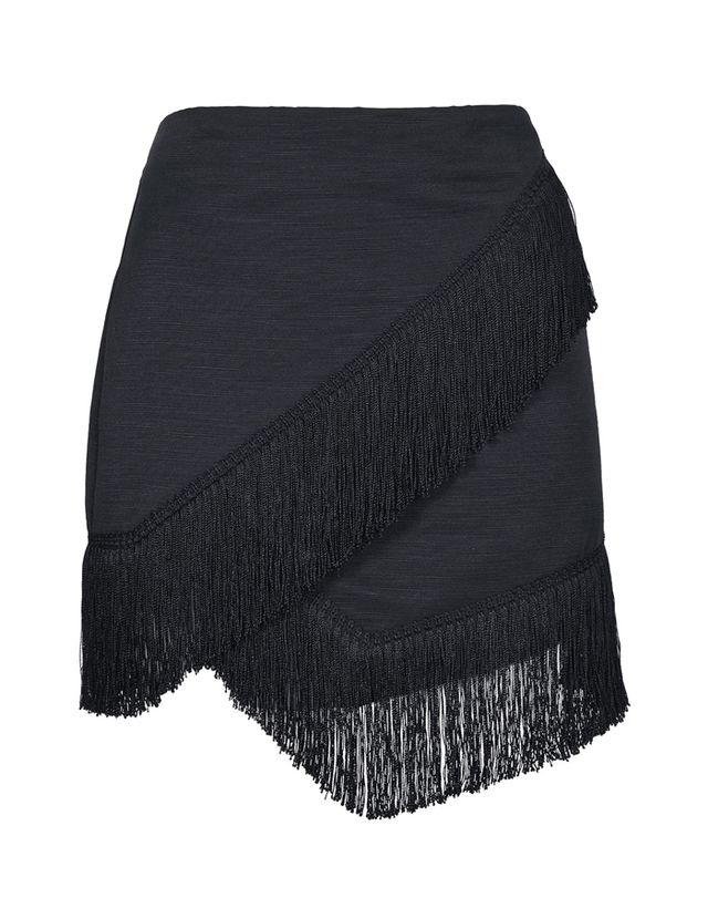 Topshop Fringe Trim Wrap Skirt