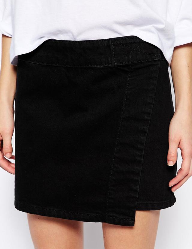 Weekday Wrap Front Denim Skirt