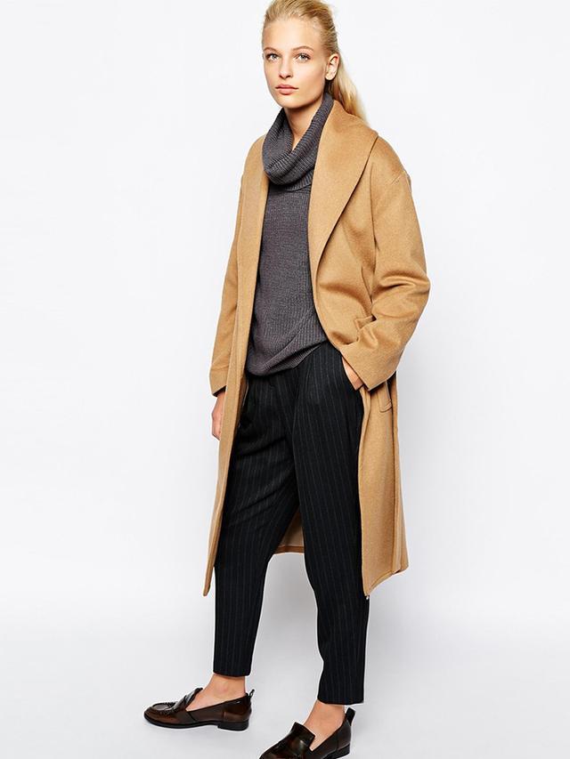 Mango Belted Wool Midi Coat