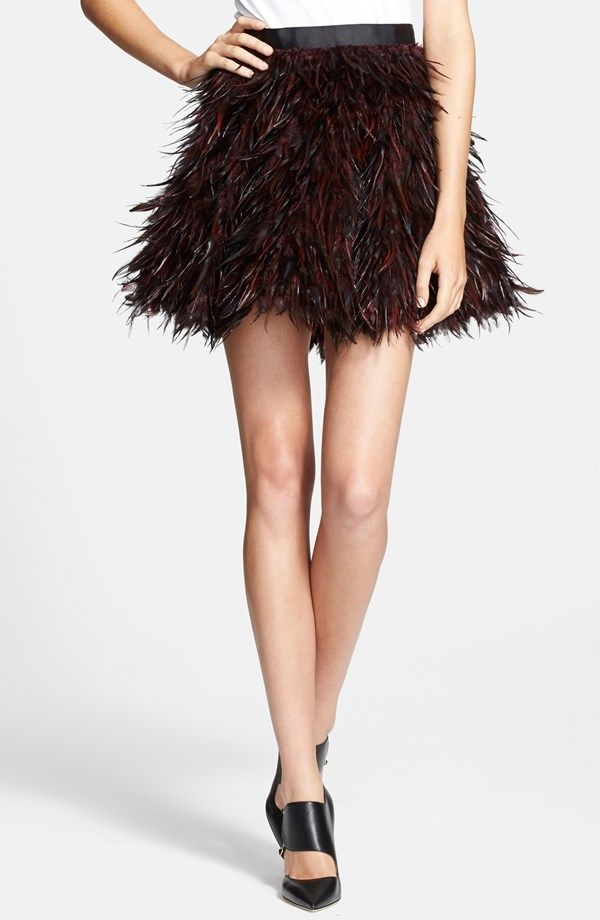 Alice + Olivia Cina Flared Feather Skirt