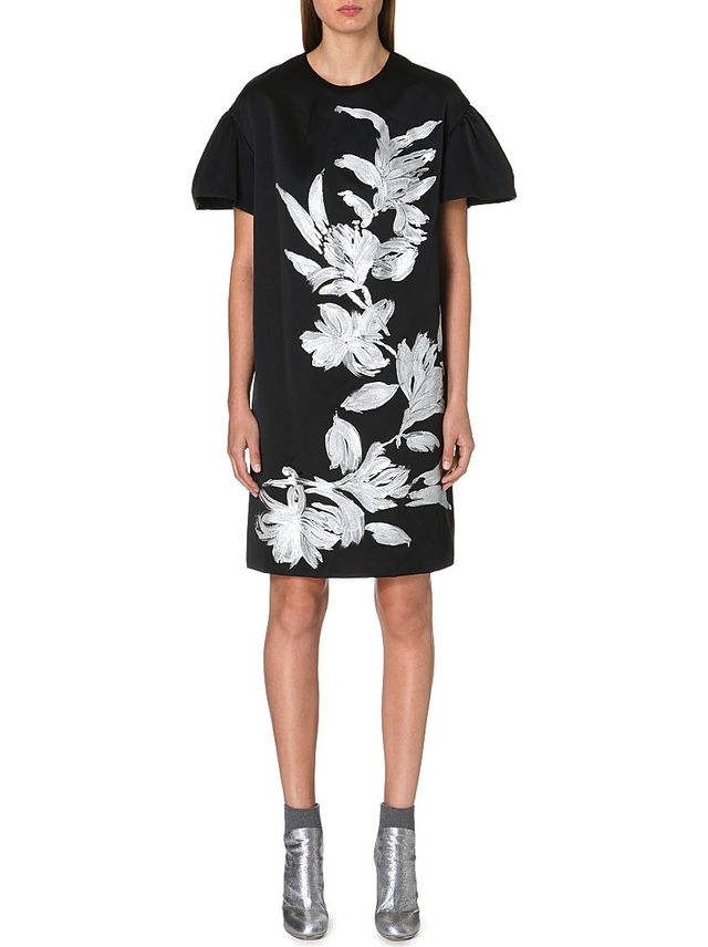 Dries Van Noten Satin floral paint dress