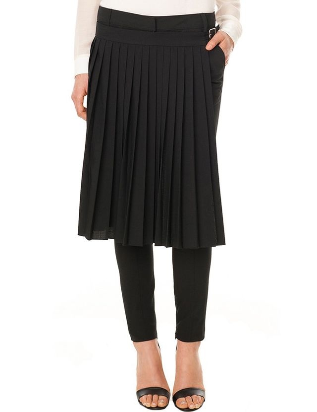 Tibi Tropical Wool Pleated Wrap Pants in Black