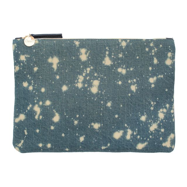 Clare V. x Jean Stories Washed Denim Flat Clutch