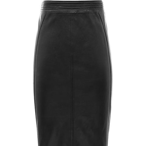 Claudette Fabric Back Leather Skirt
