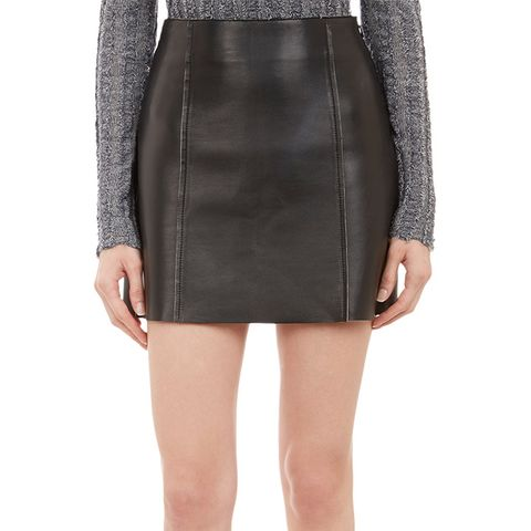 Jersey Bonded Leather Mini Skirt