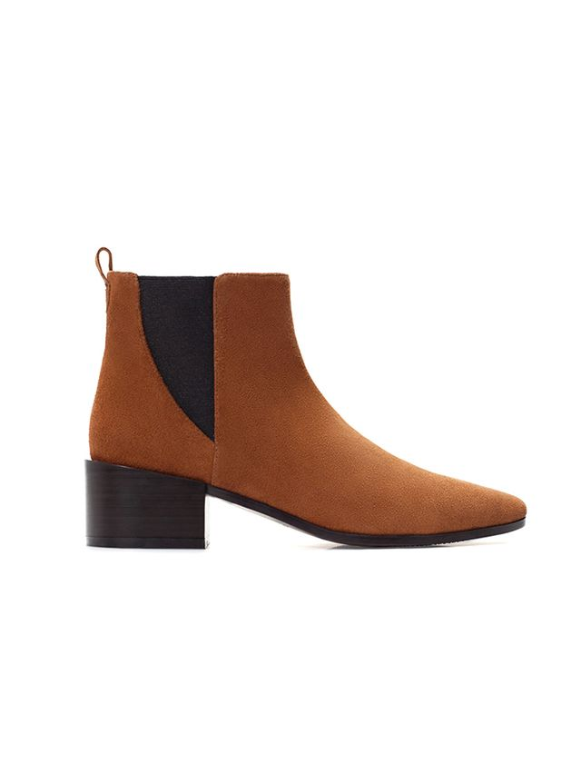 Zara High-heeled Leather Bootie With Elastic Side