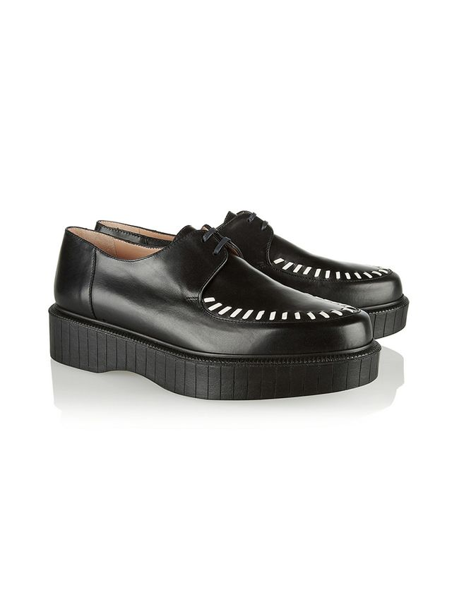 Robert Clergerie Pogo Stitch-Detailed Leather Creepers