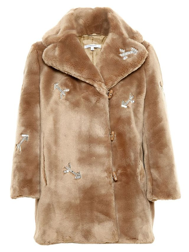 Carevn Crystal Embellished Faux Fur Coat