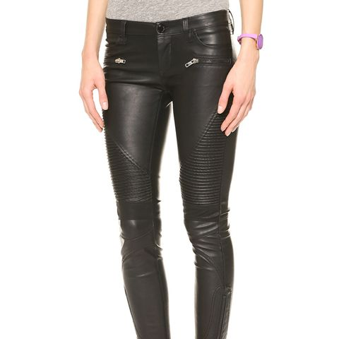Black Vegan Leather Moto Pants