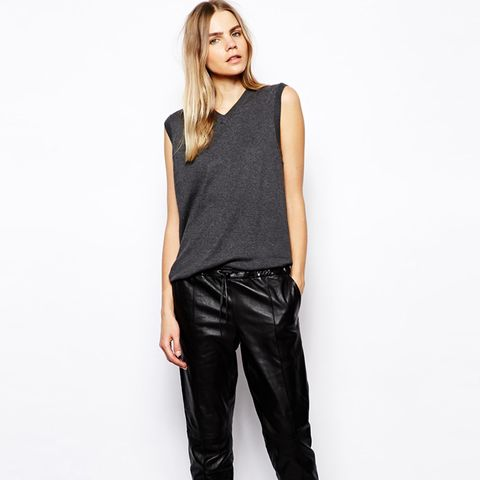 Tyras Leather Pants with Drawstring