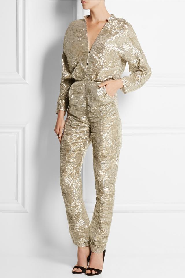 Pedro del Hierro Madrid Textured Silk-Blend Lamé Jumpsuit
