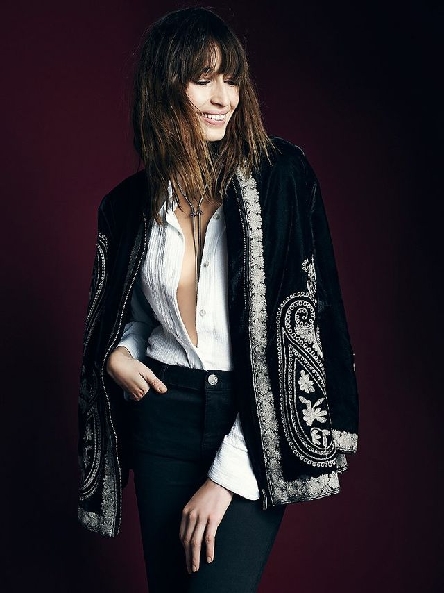 Free People Embroidered Velvet Coat