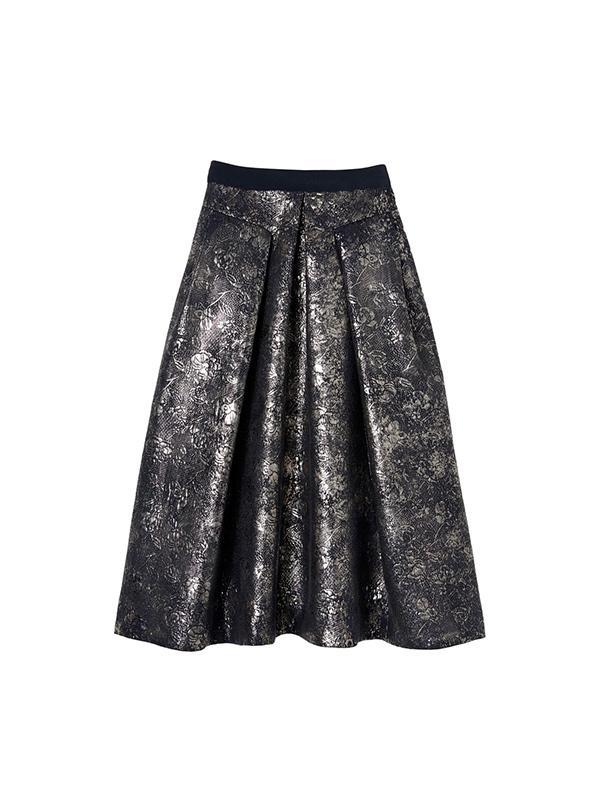 Rebecca Taylor Foil Metalasse Midi Skirt