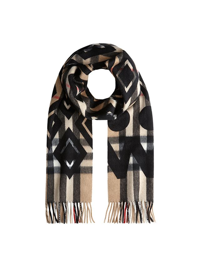 Burberry Graphic Overprint Check Cashmere Scarf