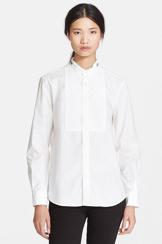 Each x Other Embroidered Collar Quilted Bib Tuxedo Shirt