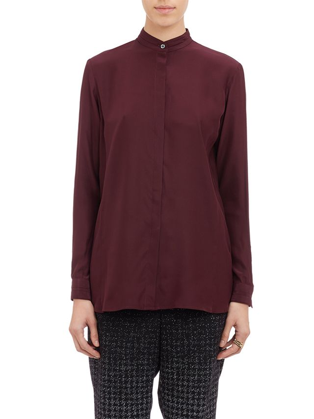 Public School Mandarin-Collar Crepe Shirt