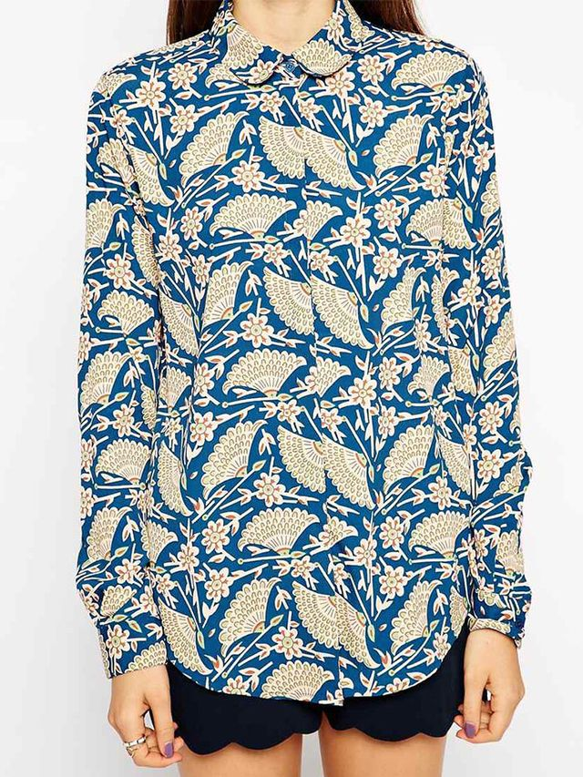 ASOS Long Sleeve Art Deco Print Blouse