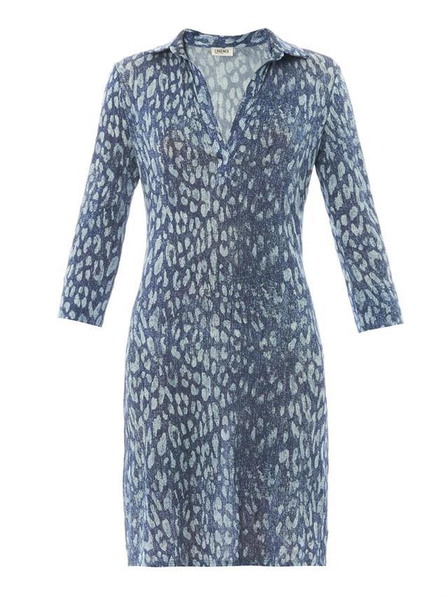 L'agence Indigo Leopard-Print Jersey Dress