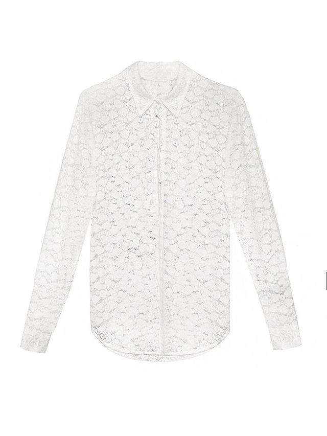 Pixie Market White Lace Shirt