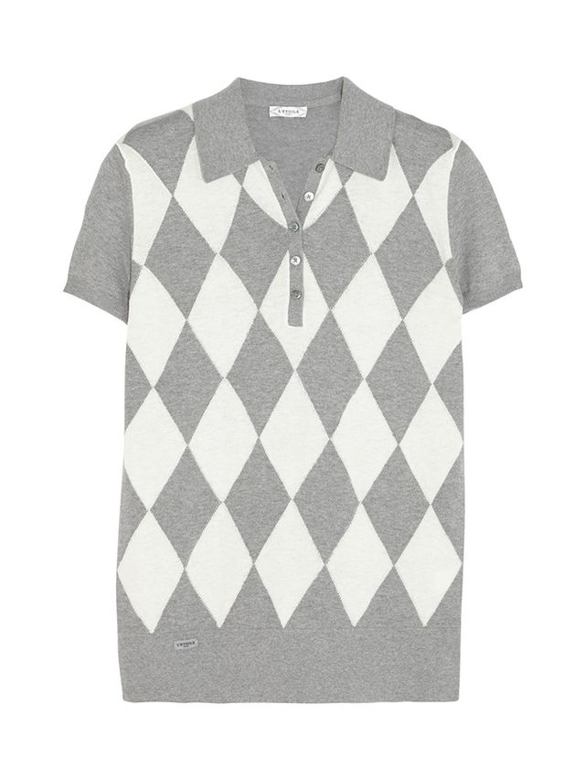 L'Etoile Sport Argyle-Knit and Cashmere-Blend Polo Shirt