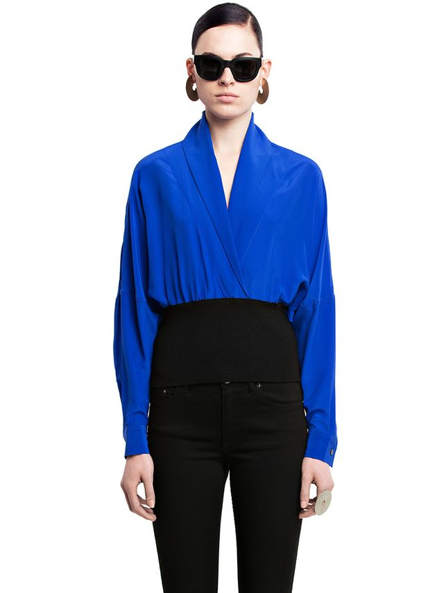 Acne Studios Jamie se Crepe Electric Blue Shirt