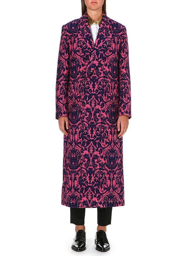 Paul Smith Long Jacquard Floral-Print Coat