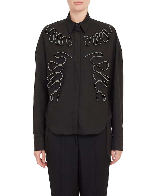Stella McCartney Zipper Appliqué Piqué Shirt