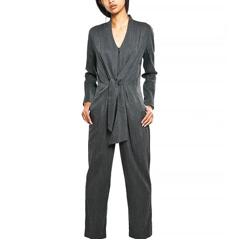 Stretch Wool Tie Jumpsuit