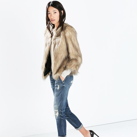 Round Neck Fur Jacket