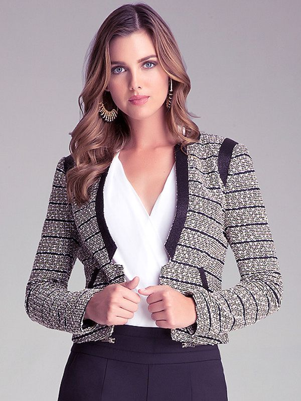 Bebe Metallic Tweed Jacket