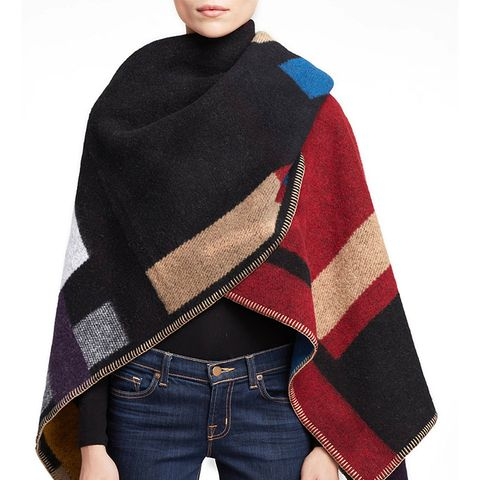 Colorblock Check Wool & Cashmere Poncho