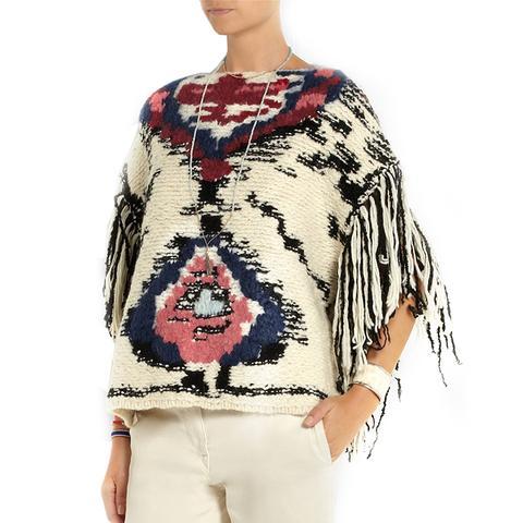 Shanon Jacquard-Knit Wool-Blend Poncho