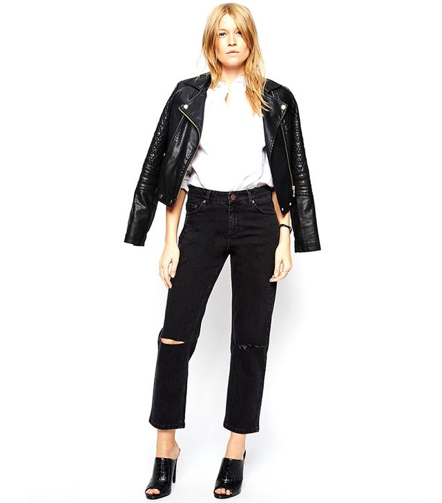 ASOS Asos Thea Girlfriend Jeans in Washed Black with Ripped Knees