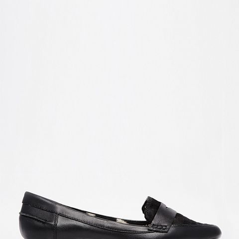 Black Leather Point Flats