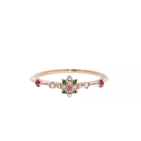Pink Sapphire and Emerald Stacking Band