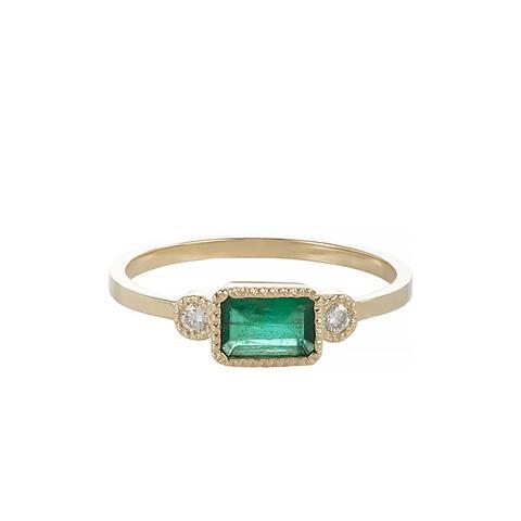"Emerald, Diamond & Gold ""Lexi"" Ring"