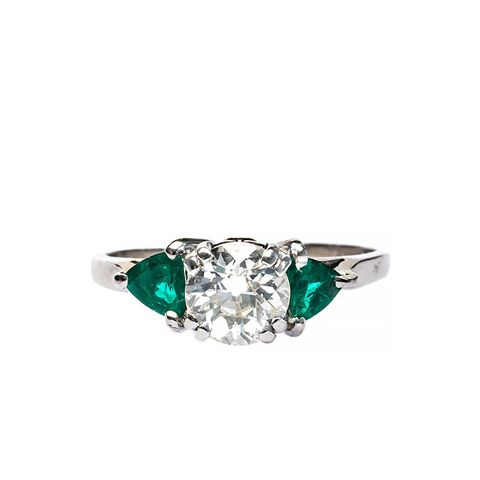 Classic Mid Century .94 Carat Emerald Diamond Ring