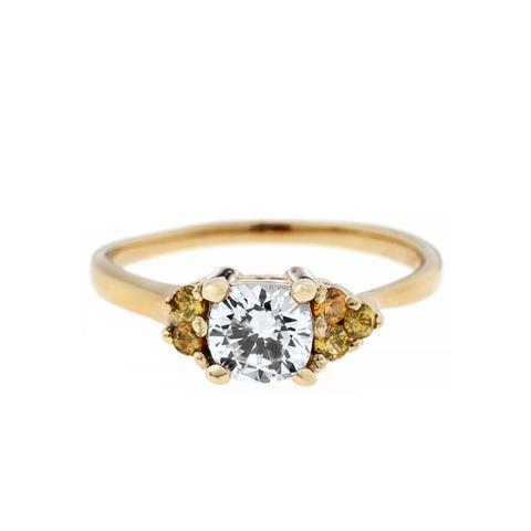 Asymmetrical Avens Ring with Cushion Cut Diamond
