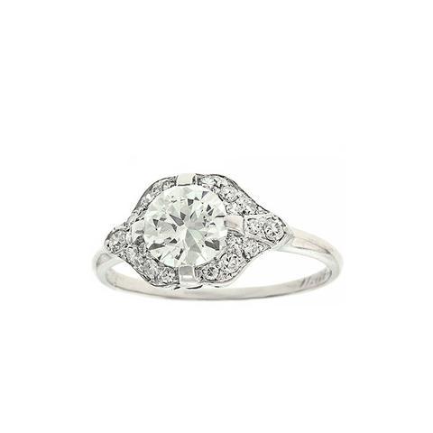 H.W. Beattie 1.0 Carat Art Deco Diamond Platinum Ring