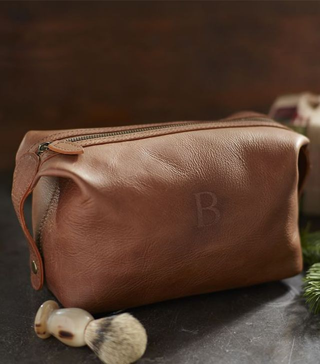 Pottery Barn Cognac Leather Toiletry Case