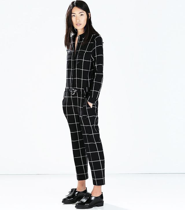 Zara Black Checked Jumpsuit