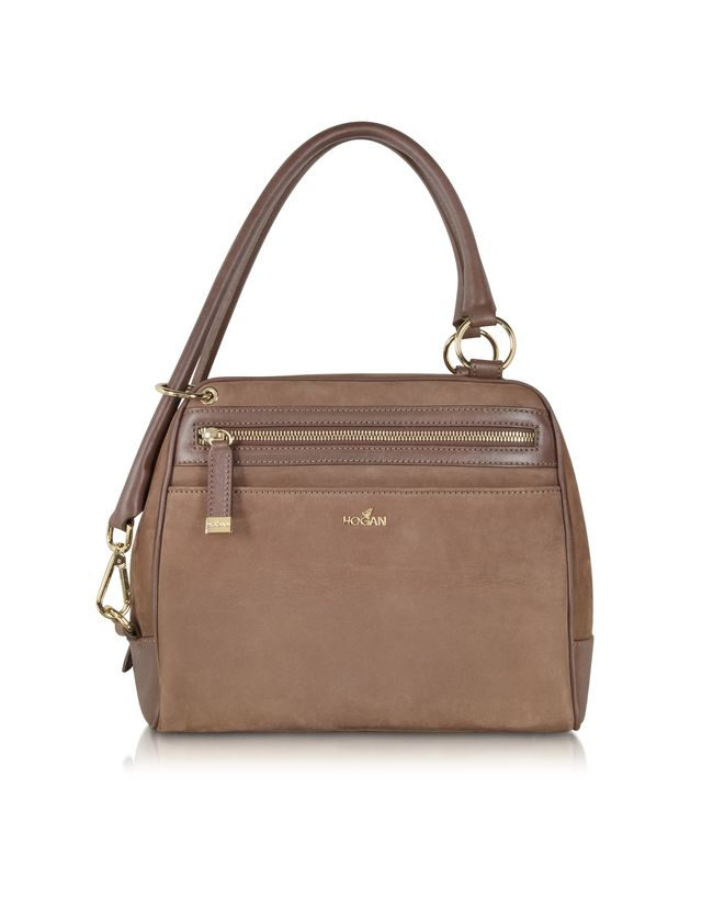 Light Brown Suede Small Tennis Bag