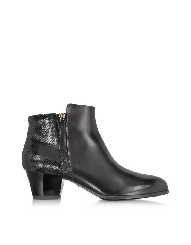Black Leather and Python Print Ankle Boots
