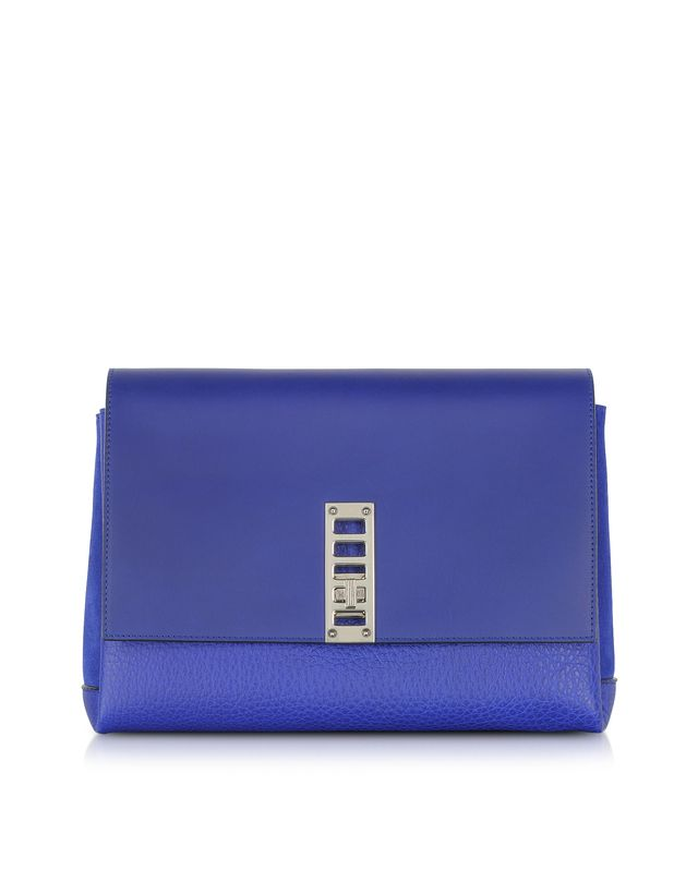 Proenza Schouler PS Elliot Dark Blue Leather and Suede Clutch