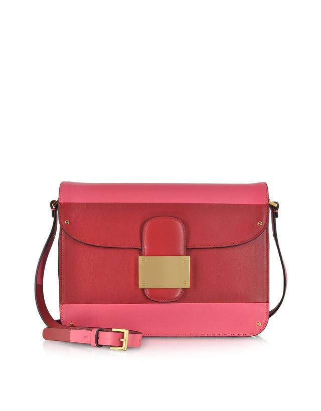 Valentino Deep Rose Colorblock Leather Shoulder Bag