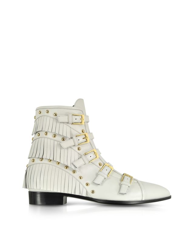 Giuseppe Zanotti Studded and Fringe Leather Bootie