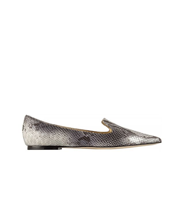 Jimmy Choo Gesso Snake-Effect Leather Point-Toe Flats