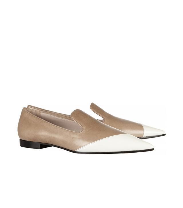 Miu Miu Two-Tone Polished-Leather Loafers