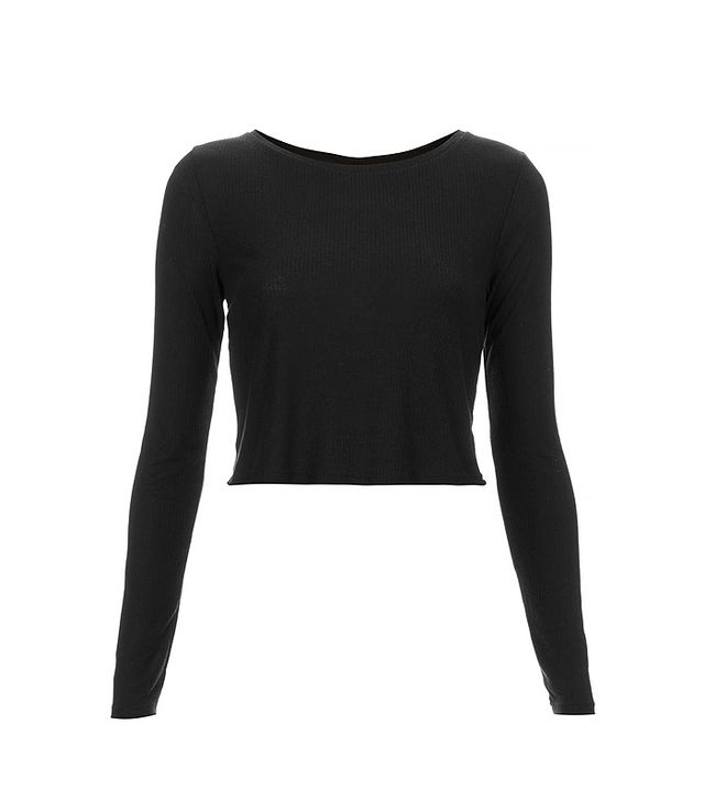 Topshop Long-Sleeve Skinny Rib Crop Top